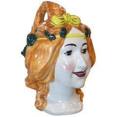 "1970s Spanish Female Bust ""Botijo"" Earthenware Water Jug Signed Maestre M.V."