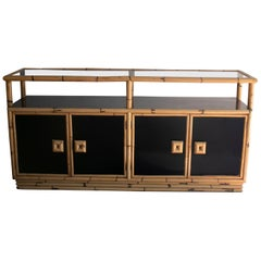 1970s Spanish Formica & Bamboo Four Door Console Table