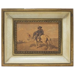 1970s Spanish Framed Watercolour of Sancho Panza, Squire to Don Quixote