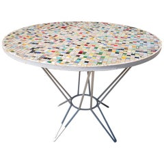 1970s Spanish Garden Glass Mosaic Table with Iron legs