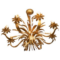 1970s Spanish Golden Iron Ceiling Lamp with Flower Decorations