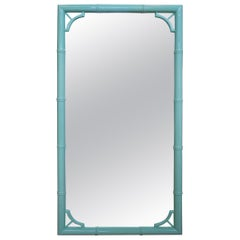 1970s Spanish Green Lacquered Faux Bamboo Mirror
