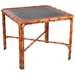 1970s Spanish Hand Carved Wooden Table Imitating Bamboo with Leather Top