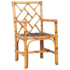 1970s Spanish Handmade Bamboo Armchair