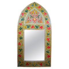 1970s Spanish Hand Painted Wooden Arched Wall Mirror