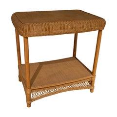 1970s Spanish Hand Woven Wicker & Bamboo Side Table w/ Low Shelf