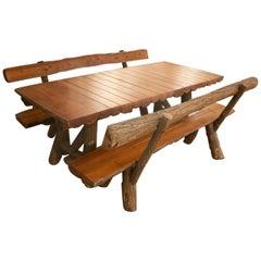 1970s Spanish Handmade Garden Wooden Table w/ Benches