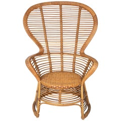 1970s Spanish Handmade Wicker and Bamboo Armchair