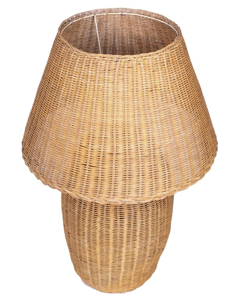 1970s Spanish handmade woven wicker lamp with shade.