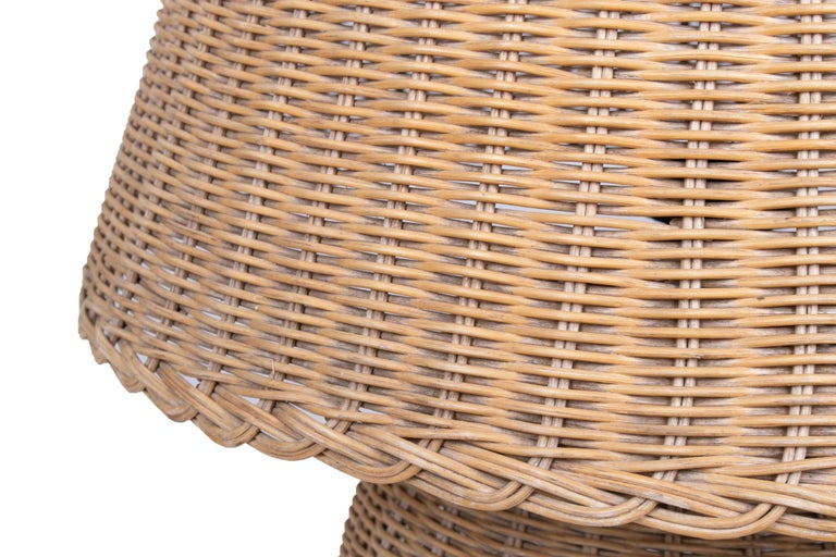 1970s Spanish Handmade Woven Wicker Lamp with Shade For Sale 2