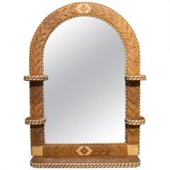 1970s Spanish Handwoven Wicker Mirror with Semicircular Arch and Shelves