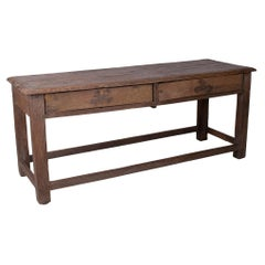 1970s Spanish Industrial Wooden 2-Drawer Table w/ Crossbeam Legs
