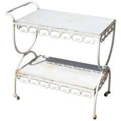 1970s Spanish Iron Drinks Trolley with Marble Shelves