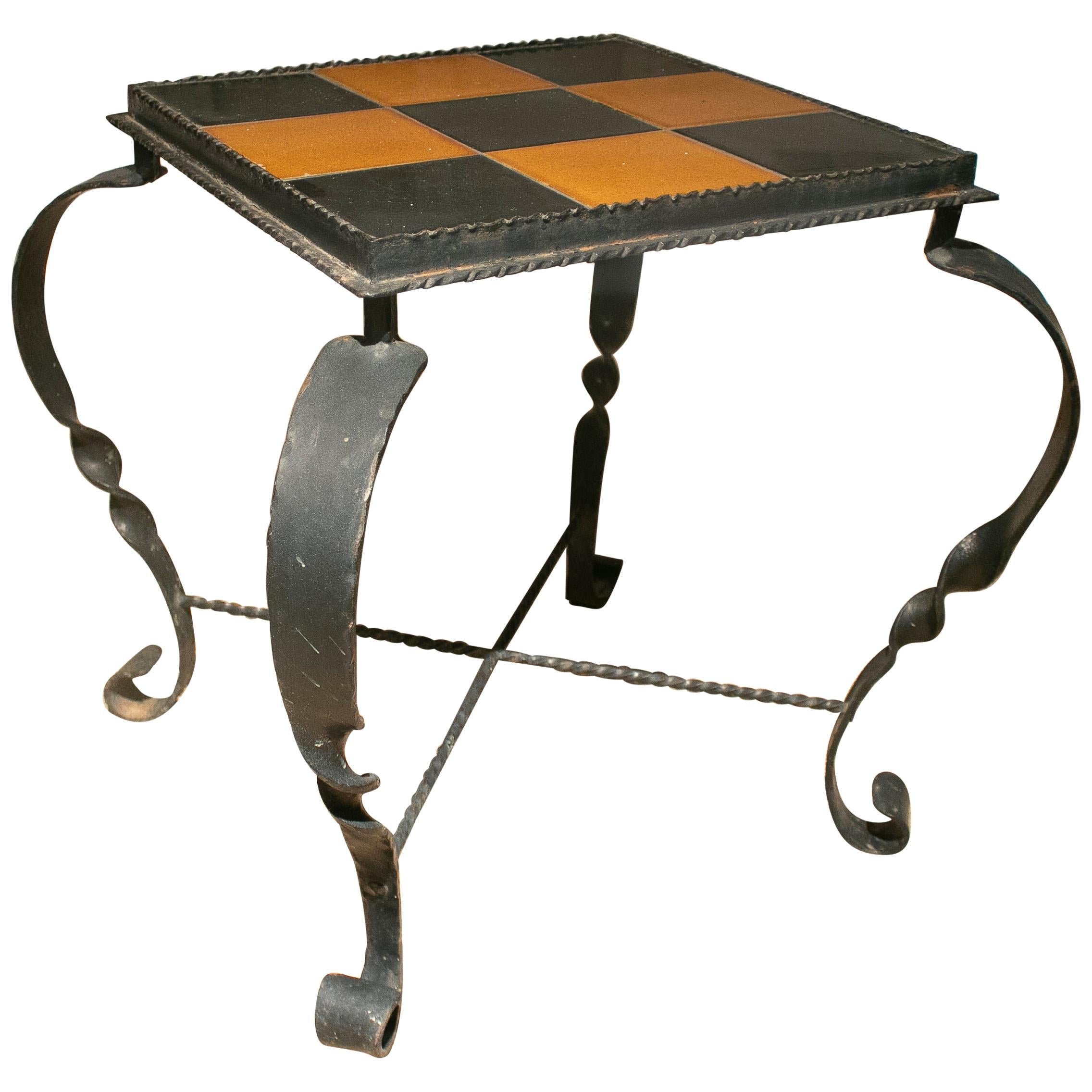 1970s Spanish Iron Garden Table w/ Checkered Glazed Ceramic Tiles Top