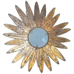 1970s Spanish Iron Sun-Shaped Wall Light with Translucent Glass