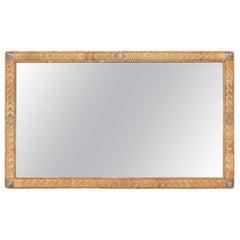 1970s Spanish Lazed Wicker Framed Mirror