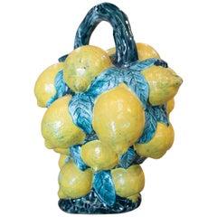 "1970s Spanish Lemons Hand Painted ""Botijo"" Earthenware Water Jug"