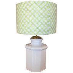 1970s Spanish Octagonal Shaped White Glazed Terracotta Table Lamp