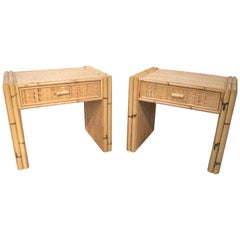 1970s Spanish Pair of Bamboo and Rattan One Drawer Bedside Tables
