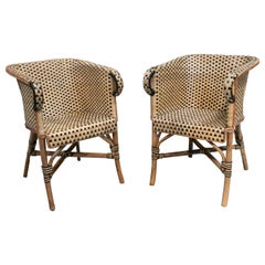 1970s Spanish Pair of Bamboo and Wicker Armchairs