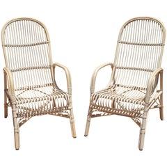 1970s Spanish Pair of Bamboo Armchairs