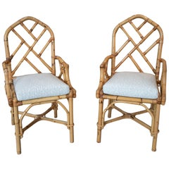1970s Spanish Pair of Bamboo Chairs with Seat Cushions