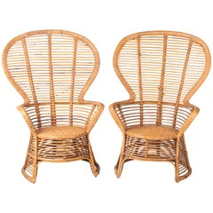 1970s Spanish Pair of Bamboo Wicker Tall Back Rest Armchairs