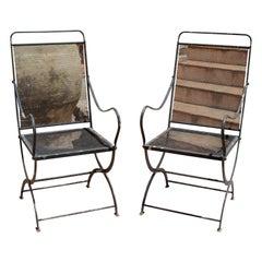 1970s Spanish Pair of Black Iron Garden Armchairs