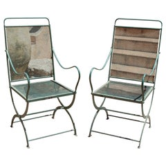1970s Spanish Pair of Green Iron Garden Armchairs