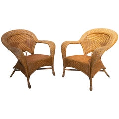 1970s Spanish Pair of Hand Woven Wicker Armchairs