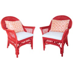 1970s Spanish Pair of Hand Woven Wicker Red Lacquered Armchairs