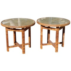 1970s Spanish Pair of Hand Woven Wicker Small Round Side Tables
