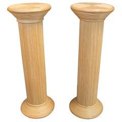 1970s Spanish Pair of Handmade Bamboo Pedestals