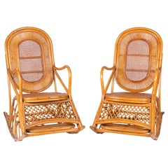 1970s Spanish Pair of Wood and Bamboo Rocking Chairs