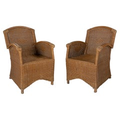 1970s Spanish Pair of Woven Wicker & Bamboo Armchairs