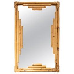 1970s Spanish Rectangular Bamboo Mirror