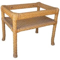 1970s Spanish Rectangular Side Table Base Imitating Woven Wicker