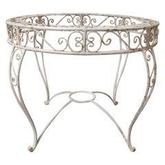 1970s Spanish Round Garden Table Iron Pedestal Base