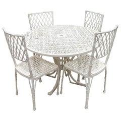 1970s Spanish Set of Four Aluminium Garden Chairs & Round Table