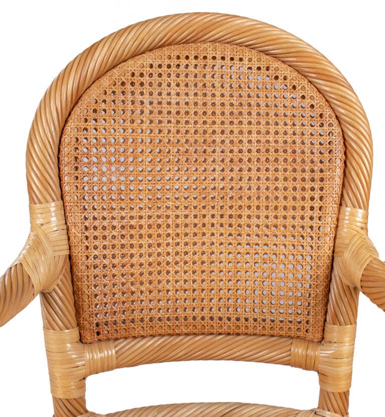 1970s Spanish Set of Six Bamboo and Wicker Handmade Armchairs For Sale 7