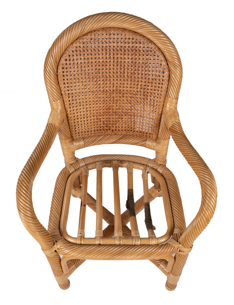 1970s Spanish Set of Six Bamboo and Wicker Handmade Armchairs For Sale 9