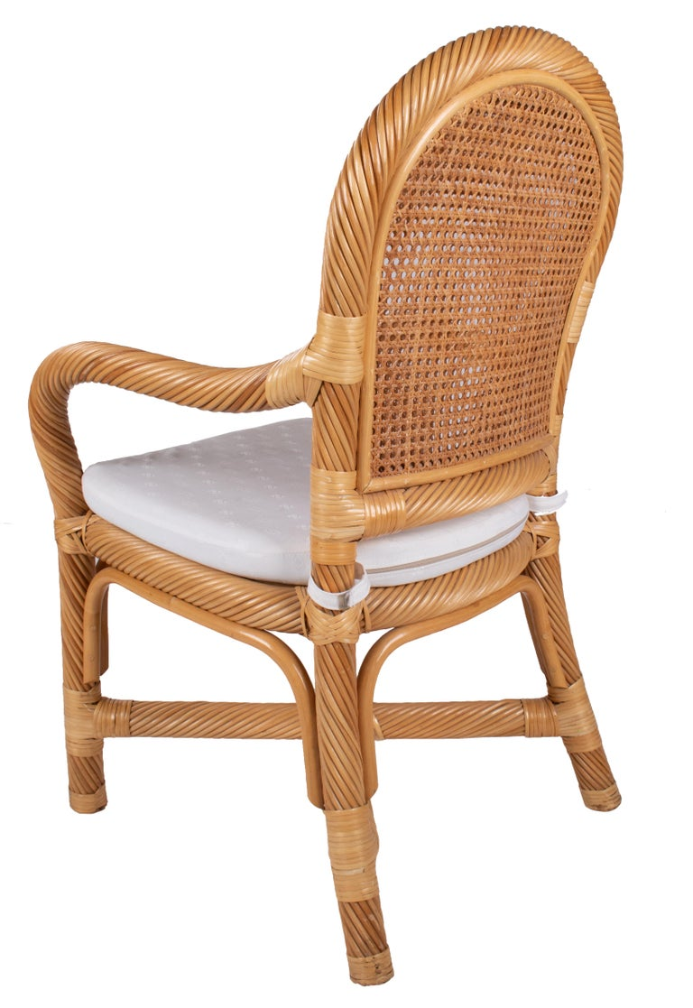 1970s Spanish Set of Six Bamboo and Wicker Handmade Armchairs In Good Condition For Sale In Malaga, ES