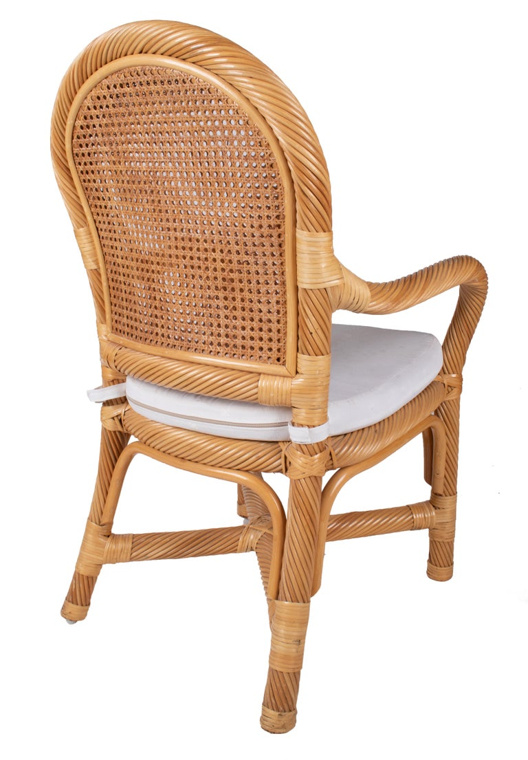 20th Century 1970s Spanish Set of Six Bamboo and Wicker Handmade Armchairs For Sale