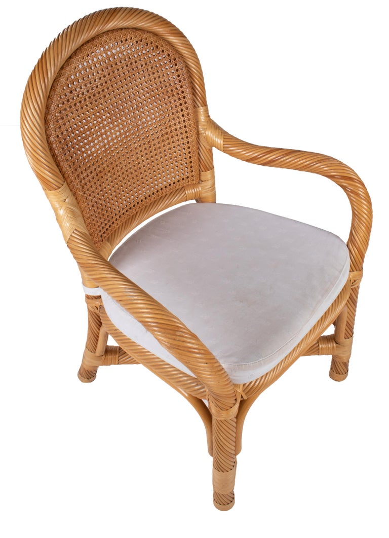 1970s Spanish Set of Six Bamboo and Wicker Handmade Armchairs For Sale 1