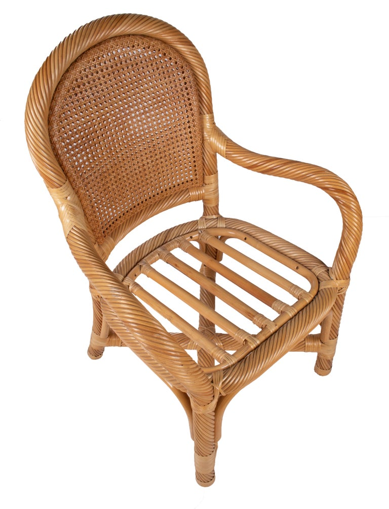 1970s Spanish Set of Six Bamboo and Wicker Handmade Armchairs For Sale 2