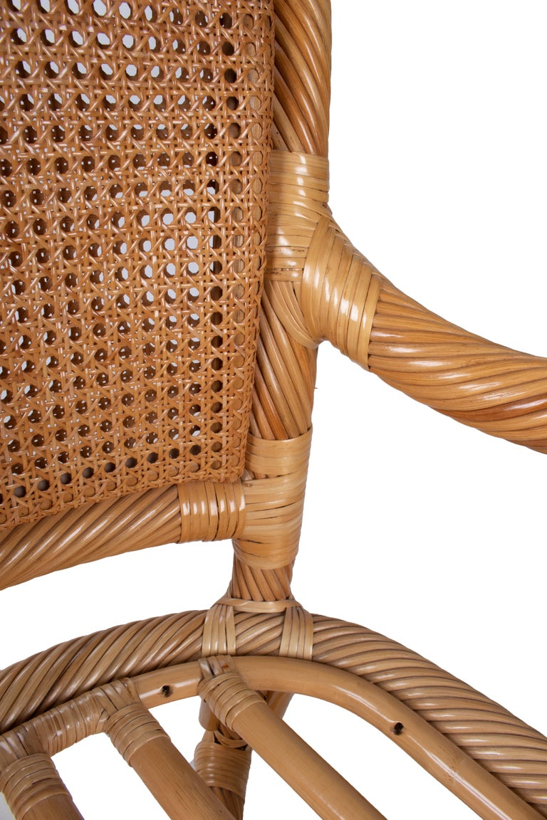 1970s Spanish Set of Six Bamboo and Wicker Handmade Armchairs For Sale 4