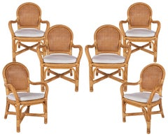 1970s Spanish Set of Six Bamboo and Wicker Handmade Armchairs