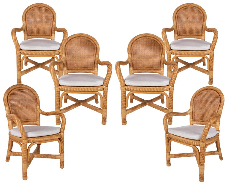 1970s Spanish Set of Six Bamboo and Wicker Handmade Armchairs For Sale