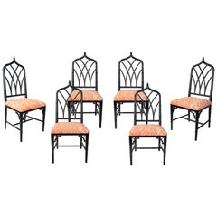 1970s Spanish Set of Six Black Lacquered Wooden Bamboo Styled Dinning Chairs