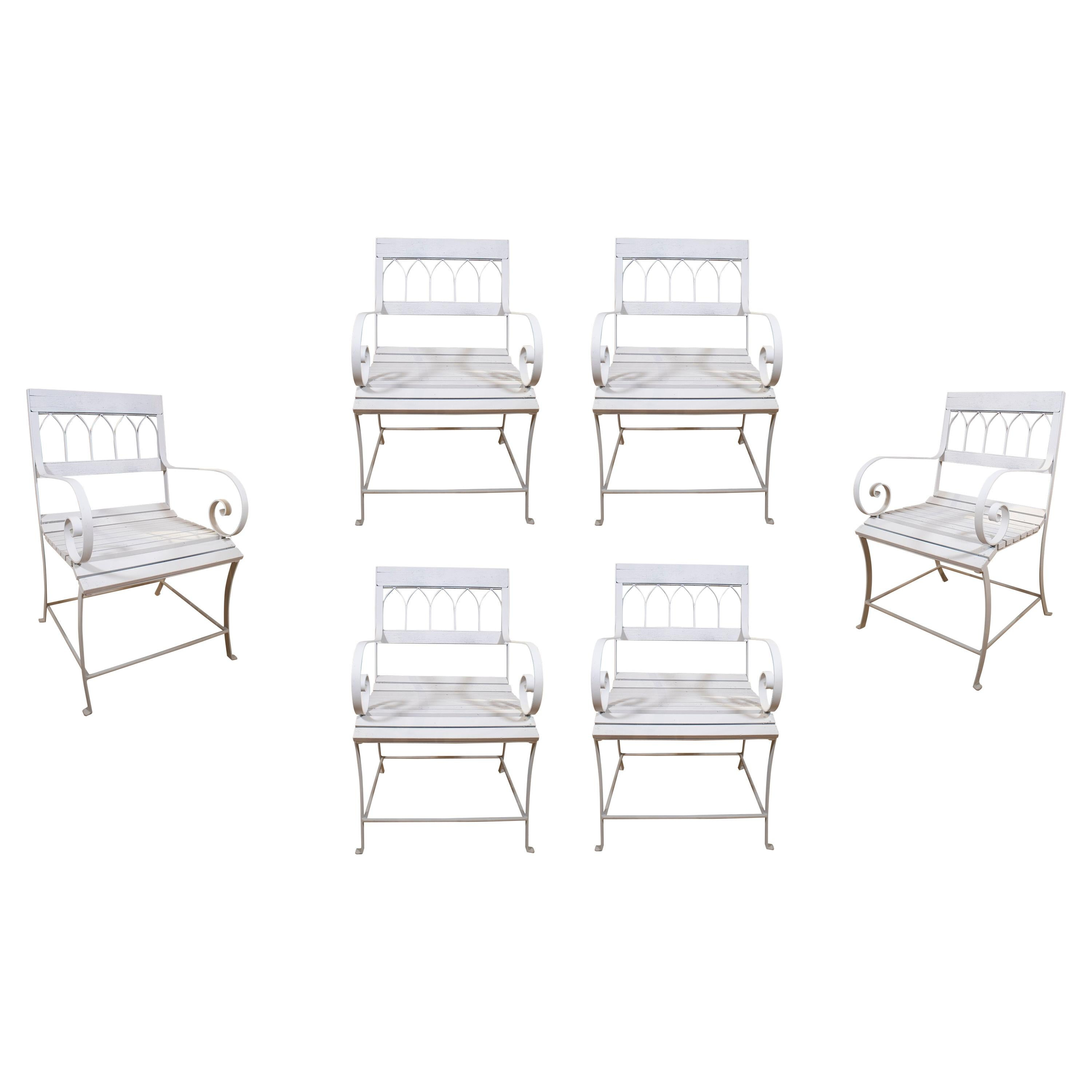 1970s Spanish Set of Six Wood and Iron Garden Chairs